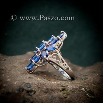 แหวนพลอยไพลิน พลอยสีน้ำเงิน แหวนเงินแท้ #3