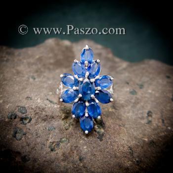 แหวนพลอยไพลิน พลอยสีน้ำเงิน แหวนเงินแท้ #4