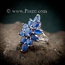 แหวนพลอยไพลิน พลอยสีน้ำเงิน แหวนเงินแท้