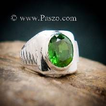 แหวนมรกตผู้ชาย แหวนผู้ชายเงินแท้ แหวนทรงสี่เหลี่ยม พลอยสีเขียว แหวนผู้ชาย
