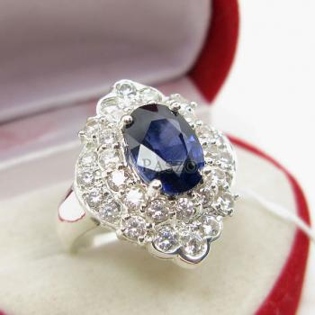 แหวนไพลิน แหวนเงิน ล้อมเพชร #2