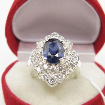 แหวนไพลิน แหวนเงิน ล้อมเพชร #3