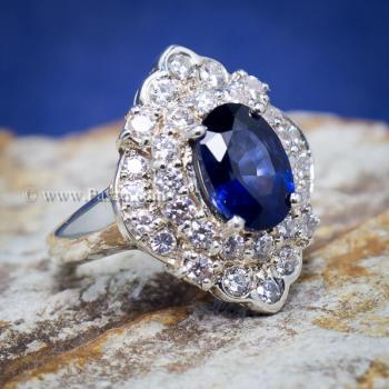 แหวนไพลิน แหวนเงิน ล้อมเพชร #6