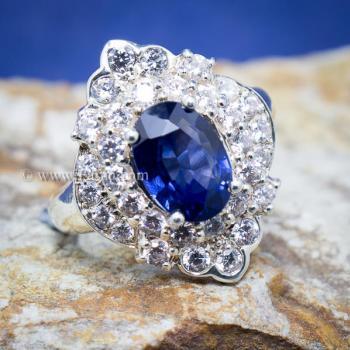 แหวนไพลิน แหวนเงิน ล้อมเพชร #5