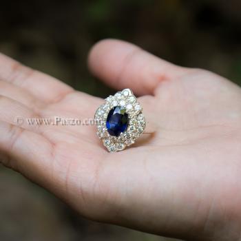 แหวนไพลิน แหวนเงิน ล้อมเพชร #4