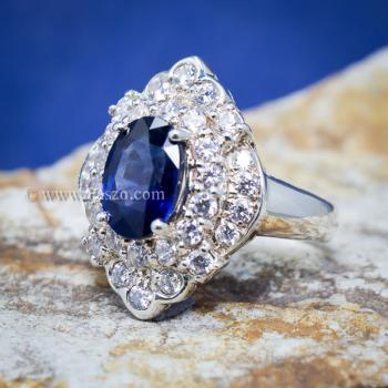 แหวนไพลิน แหวนเงิน ล้อมเพชร #7