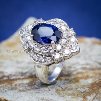 แหวนไพลิน แหวนเงิน ล้อมเพชร #9