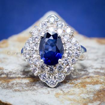 แหวนไพลิน แหวนเงิน ล้อมเพชร #8