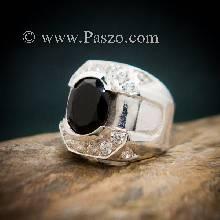 แหวนผู้ชายนิล แหวนผู้ชายเงิน ฝังนิลแท้ แหวนผู้ชาย ประดับเพชร