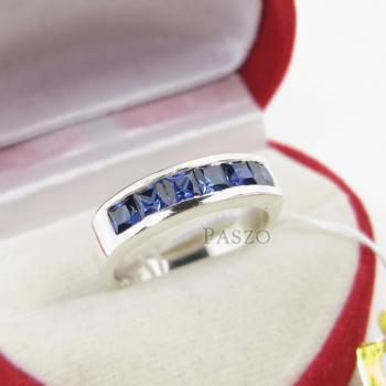 แหวนพลอยไพลิน แหวนสีน้ำเงิน พลอยเม็ดสี่เหลี่ยม #2