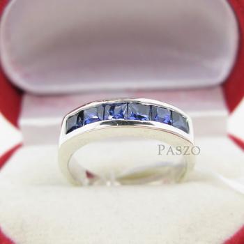 แหวนพลอยไพลิน แหวนสีน้ำเงิน พลอยเม็ดสี่เหลี่ยม #3