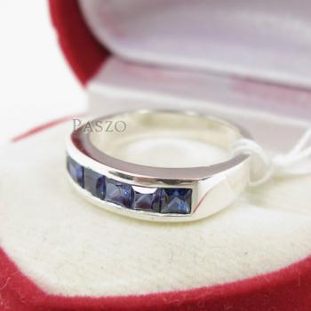 แหวนพลอยไพลิน แหวนสีน้ำเงิน พลอยเม็ดสี่เหลี่ยม #4
