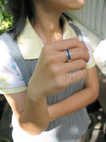 แหวนพลอยไพลิน แหวนสีน้ำเงิน พลอยเม็ดสี่เหลี่ยม #5