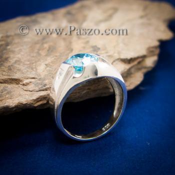 แหวนพลอยสีฟ้า แหวนผู้ชาย บ่าแหวนฝังเพชร #2