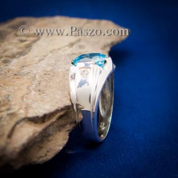 แหวนพลอยสีฟ้า แหวนผู้ชาย บ่าแหวนฝังเพชร #3