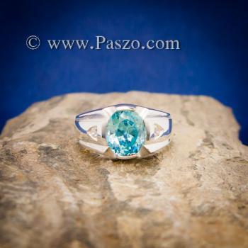 แหวนพลอยสีฟ้า แหวนผู้ชาย บ่าแหวนฝังเพชร #4