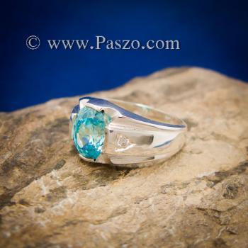 แหวนพลอยสีฟ้า แหวนผู้ชาย บ่าแหวนฝังเพชร #5