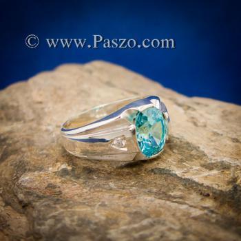 แหวนพลอยสีฟ้า แหวนผู้ชาย บ่าแหวนฝังเพชร #6