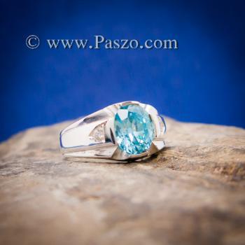 แหวนพลอยสีฟ้า แหวนผู้ชาย บ่าแหวนฝังเพชร #7