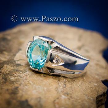 แหวนพลอยสีฟ้า แหวนผู้ชาย บ่าแหวนฝังเพชร #8
