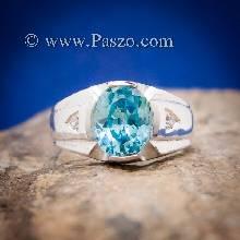 แหวนพลอยสีฟ้า แหวนผู้ชาย บ่าแหวนฝังเพชร แหวนแห่งแสง แหวนเงินแท้