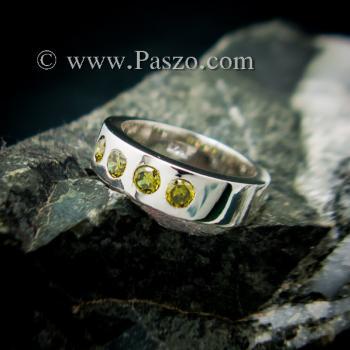 แหวนพลอย สีเขียวมะกอก 4 #2