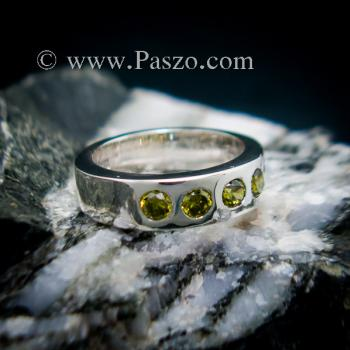 แหวนพลอย สีเขียวมะกอก 4 #3