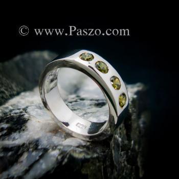 แหวนพลอย สีเขียวมะกอก 4 #4