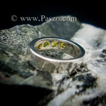 แหวนพลอย สีเขียวมะกอก 4 #6