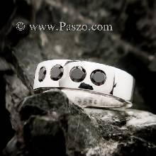 แหวนนิล 4เม็ด แหวนนิลสีดำ แหวนเงินแท้