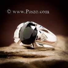 แหวนแห่งแสง แหวนนิลผู้ชาย แหวนผู้ชายเงินแท้ พลอยสีดำ แหวนพลอยผู้ชาย นิลแท้ บ่าฝังเพชร แหวนผู้ชาย