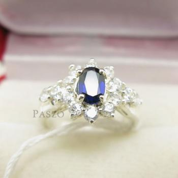 แหวนพลอยไพลิน สีน้ำเงิน ล้อมเพชร #2