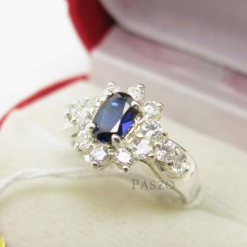แหวนพลอยไพลิน สีน้ำเงิน ล้อมเพชร #3