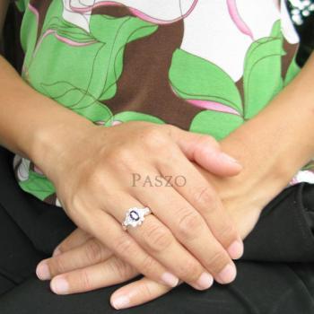 แหวนพลอยไพลิน สีน้ำเงิน ล้อมเพชร #4