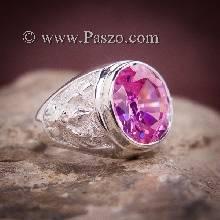แหวนพญาครุฑ พลอยสีชมพู แหวนผู้ชาย แหวนเงิน