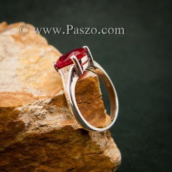 แหวนทับทิม แหวนพลอยสีแดงทับทิมเม็ดเดี่ยว แหวนทับทิมเงินแท้ #2