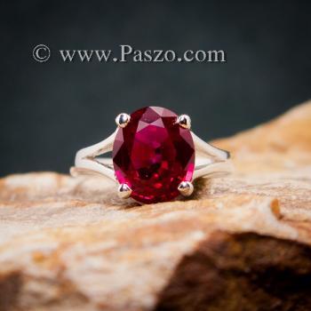 แหวนทับทิม แหวนพลอยสีแดงทับทิมเม็ดเดี่ยว แหวนทับทิมเงินแท้ #3