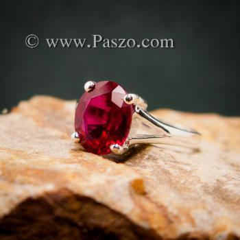 แหวนทับทิม แหวนพลอยสีแดงทับทิมเม็ดเดี่ยว แหวนทับทิมเงินแท้ #4
