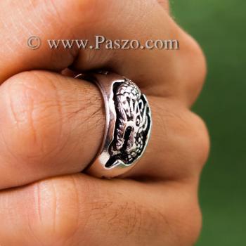 แหวนมังกร แหวนเงินแกะสลักมังกรพันนิ้ว แหวนทรงแหวนเกลี้ยง #2
