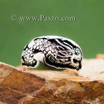 แหวนมังกร แหวนเงินแกะสลักมังกรพันนิ้ว แหวนทรงแหวนเกลี้ยง #4