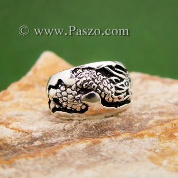 แหวนมังกร แหวนเงินแกะสลักมังกรพันนิ้ว แหวนทรงแหวนเกลี้ยง #7