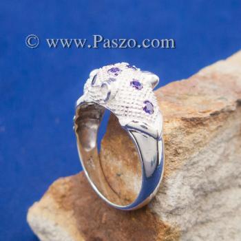 แหวนเสือดาว แหวนเสือดาวคาบห่วง ฝังพลอยสีม่วง #3