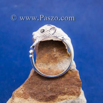 แหวนเสือดาว แหวนเสือดาวคาบห่วง ฝังพลอยสีม่วง #4