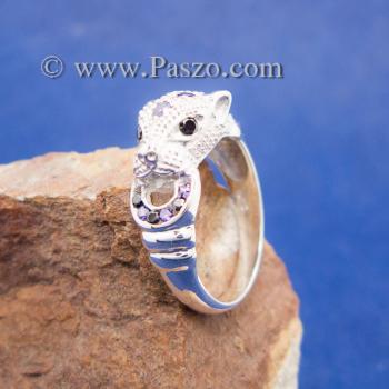 แหวนเสือดาว แหวนเสือดาวคาบห่วง ฝังพลอยสีม่วง #5