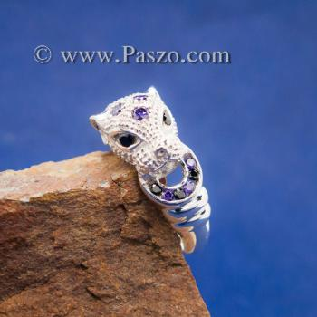 แหวนเสือดาว แหวนเสือดาวคาบห่วง ฝังพลอยสีม่วง #6