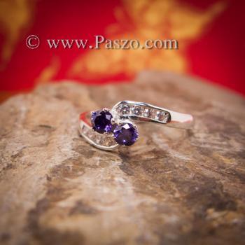 แหวนพลอยสีม่วง2เม็ด  แหวนอะเมทิสต์ #2
