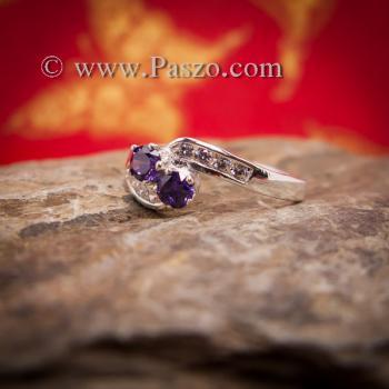 แหวนพลอยสีม่วง2เม็ด  แหวนอะเมทิสต์ #4