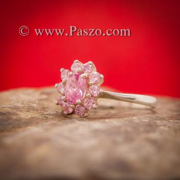 แหวนพลอยชมพู แหวนล้อมพลอยสีชมพู วงเล็กๆ #3