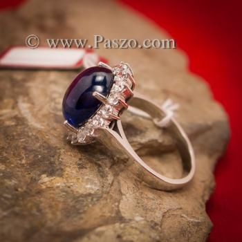 แหวนพลอยไพลิน ล้อมเพชร ไพลินอัฟริกาแท้ #4