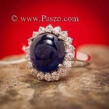 แหวนพลอยไพลิน ล้อมเพชร ไพลินอัฟริกาแท้ แหวนเงินแท้ แหวนขนาดใหญ่